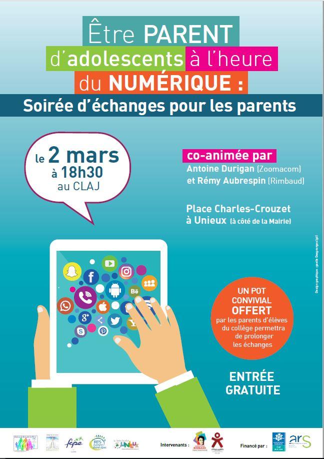 Soirée d'échanges «Être parents d'adolescents à l'heure du numérique»