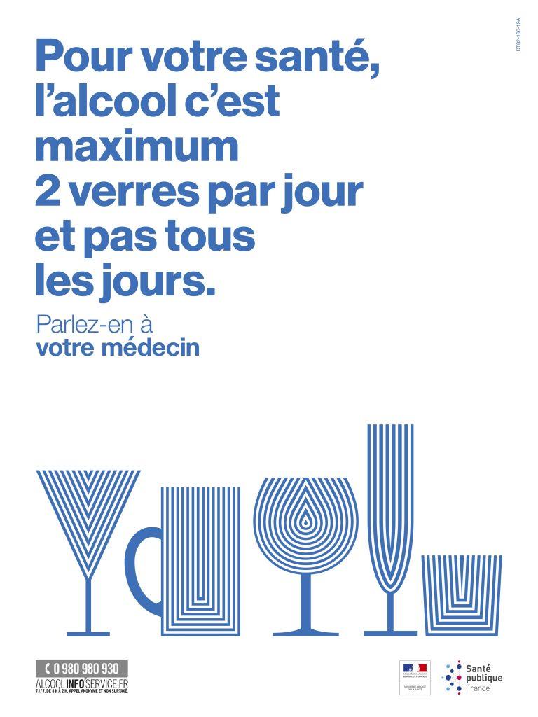 pour votre santé, l'alcool c'est maximum 2 verres par jour et pas tous les jours